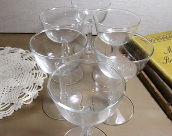 Set of Six (6) Small Goblets - Fluted Stem