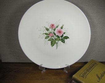 Vintage Dinner Plate - Pale Pink Roses - Green Leaves