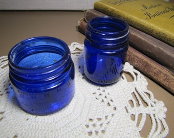Two (2) Vintage Cobalt Blue Glass Jars