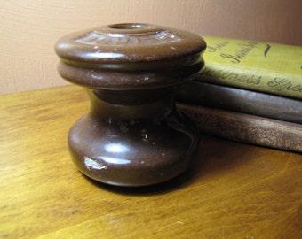 Vintage Peirce 355 Brown Porcelain Insulator