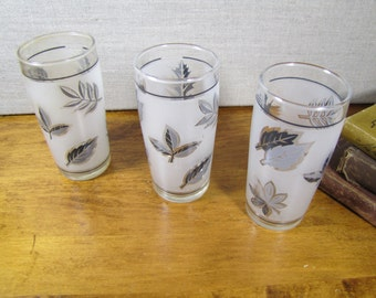Small Frosted Juice Glasses - Gray and Black Leaves - Set of Three (3)