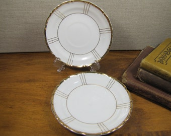 Seyei Fine China - Small Saucers - Gold Accents - Set of Two (2)