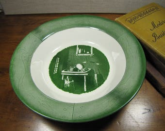 Royal China - Colonial Homestead - Serving Bowl - Table With Dishes - Shades of Green - Creamy White Background - Woodgrain Look