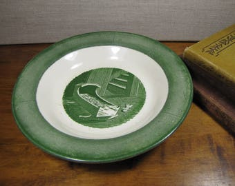 Royal China - Colonial Homestead - Coupe Soup Bowl - Cradle, Doll and Stairway - Shades of Green and Creamy White