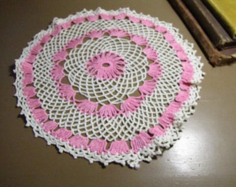 Vintage Crocheted Doily - Creamy White and Pink