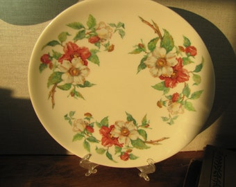 Lamberton Scammell - Ivory - Dinner Plate - Pink and White Flowers - Made in America