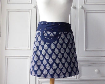 """Reversible cotton wrap around skirt with pocket (free size) - 19"""" length"""