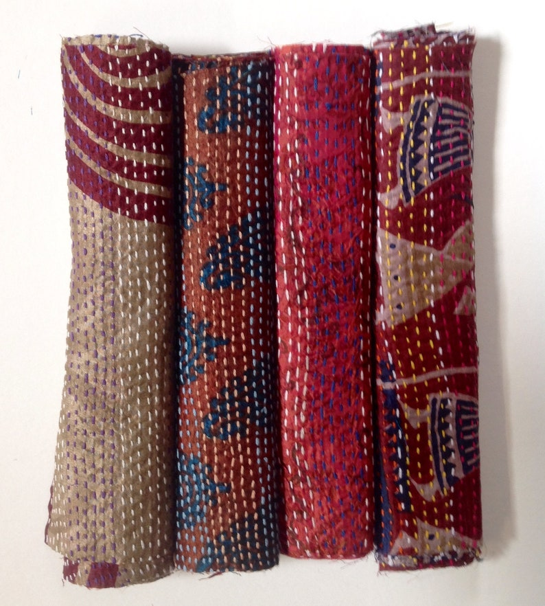 16 Kantha stitch silk squares 9 square inches approx for crafting