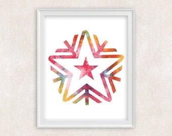 Snowflake Art Watercolor Print - Home Decor 8x10 PRINT - Item #730B