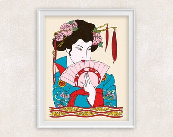 Geisha Art Print - 8x10 Art Print - Wall Art - Home Decor - Office Art - Item #512