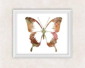Butterfly Watercolor Print - Modern Minimalist Art - Home Decor 8x10 PRINT - Item #735A