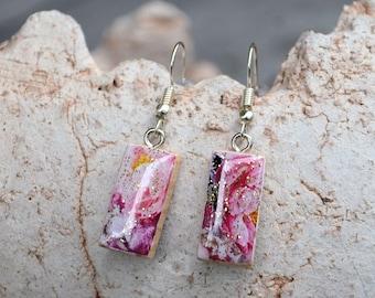glitter pink floral dangle earrings eco friendly wooden natural jewelry wood boho asymmetrical hypoallergenic steel french hooks OOAK