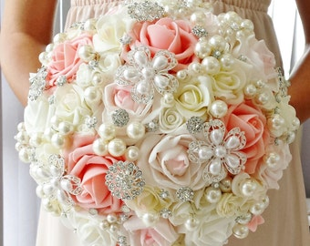 Ivory Coral Wedding bouquet Brooch bouquet Pearl bouquet Artificial flowers