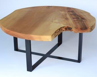 Live Edge Coffee Table Maple, Live Edge Wood Slab, Round Coffee Table, Natural Edge , Round Living Room Table, Modern Coffee Table