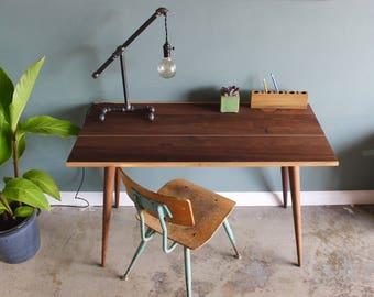 Made-to-Order Modern Computer Desk, home office desk, solid walnut wood desk, writing table, Mid Century desk