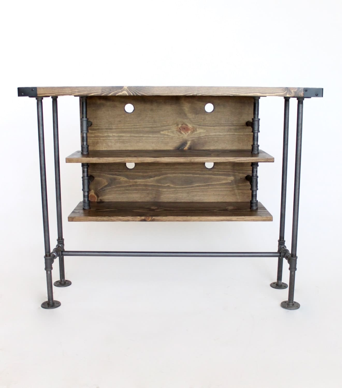 Delicieux Industrial Style Tall TV Console Table, Pipe And Wood, Handmade In Michigan