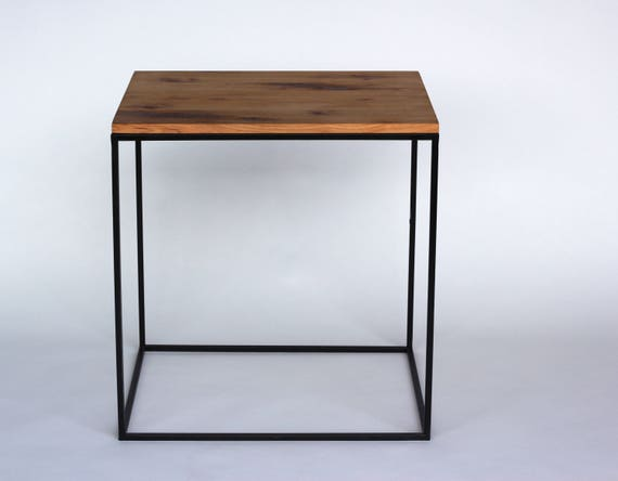 Modern Style End Table Hickory With Steel Base Made In   Etsy