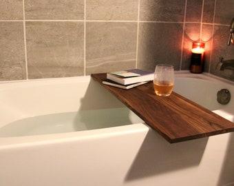 Adjustable Bath Tray For Standard Size Tubs, Solid Walnut, Premium Handmade Wooden Bath Tub Caddy, Bathtub Shelf, Gift For Her, Detroit, MI
