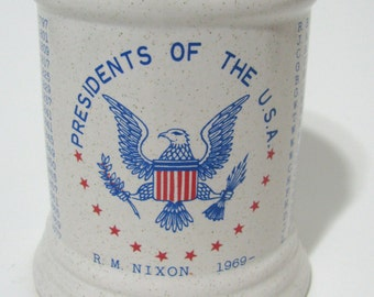 142abcff95 Vintage President USA History Washington to NIXON Mug American Eagle 1969  July 4th