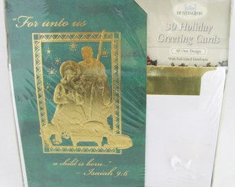 051b995136 New Vintage Christmas Gold Foil Nativity Cards Set of 30 Holiday Greeting  Huntington Lot with Envelopes