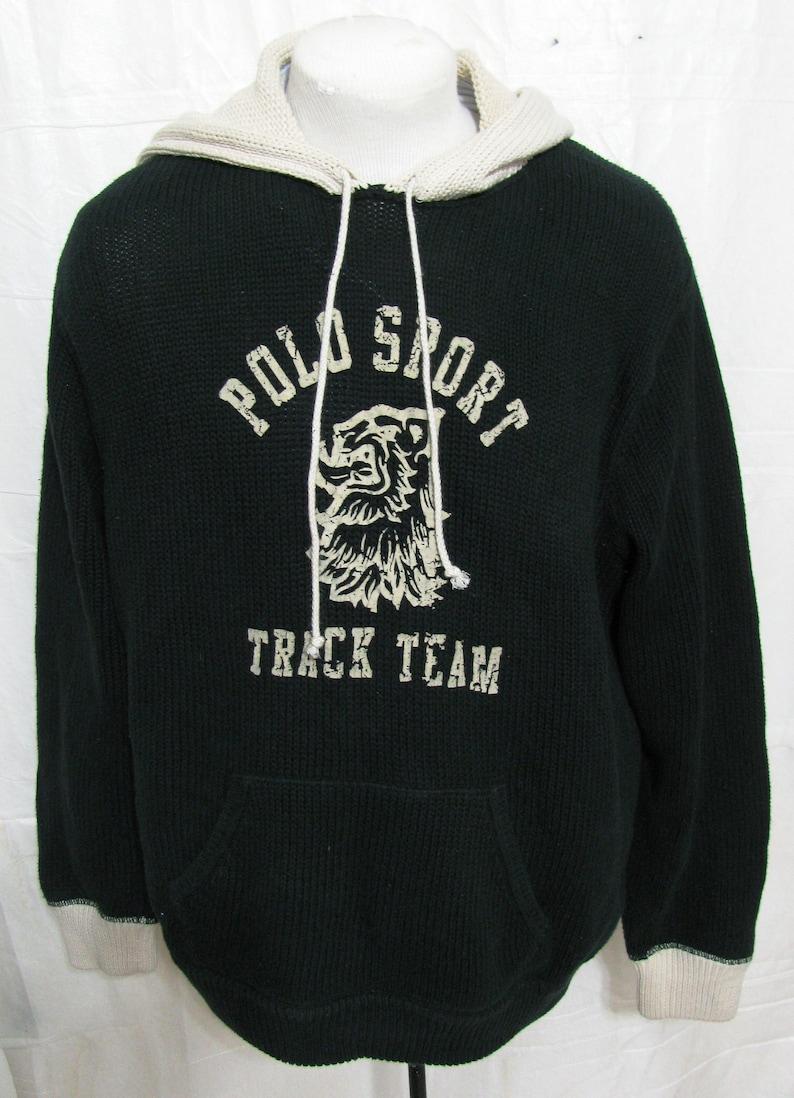 6861f544be Vintage Ralph Lauren Polo Sport knit Pullover TRACK TEAM Sweater XXL Hoodie  P-Wing Stadium 2X