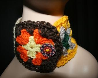 Granny Square Crochet Neck Warmer Cuff. Wearable Art.