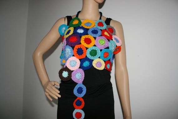 Wearable One Kind Halter Top A Freeform Art Neck Circles Crochet Colourful Of Unique xnTAX8zqpw