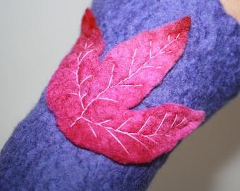 Woodland Folk Leaf Nymph Dreamy Felt Wrist Warmers.OOAK Wearable Art. Leaf Pattern. Purple With Purply pink Leaves. Pixie Fairy Accessory.
