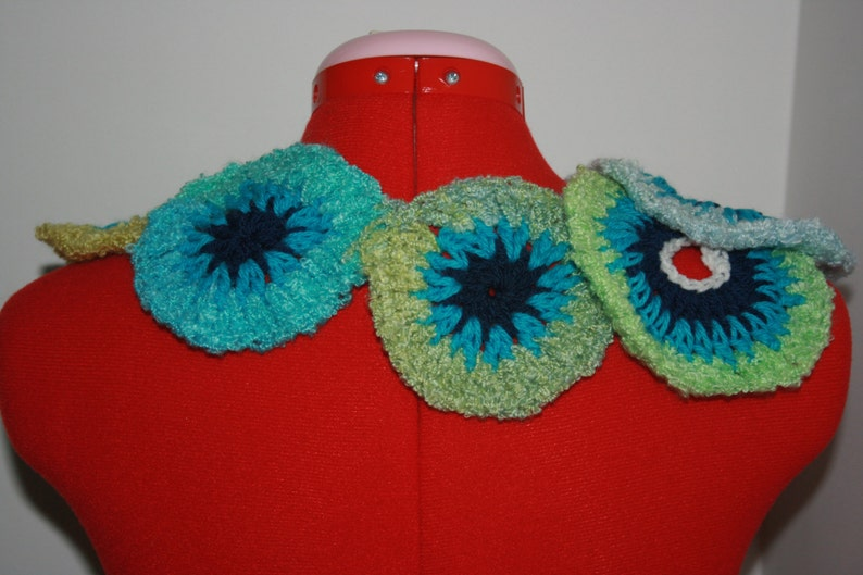 Unique Beautiful Blue Aqua Spiral Freeform Crochet Capelet Ready to ship. One Of A Kind Wearable Art