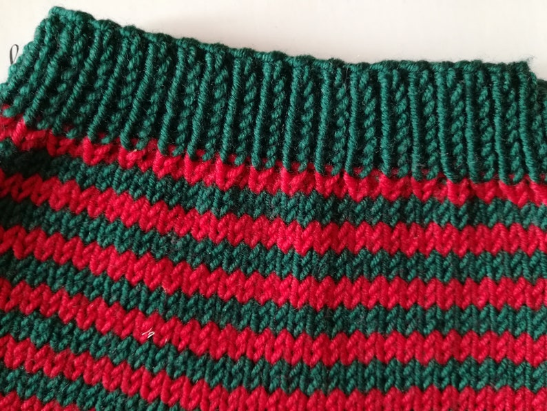 Greenish and red striped trousers for babies 1-3 months in pure virgin wool