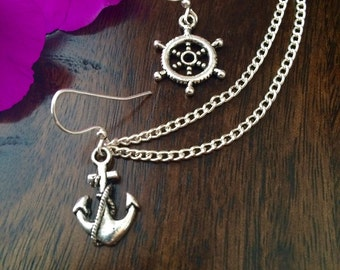 Anchor and Wheel, Nautical, Ship Themed Cartilage chain earrings