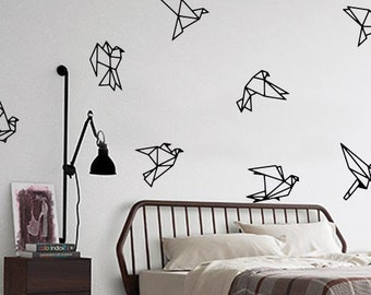 8 x Sticker wall Origami birds / black or white / small or large