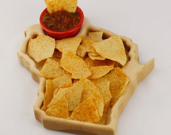Wisconsin Snack Tray, Solid maple | Chip & Dip tray | State Serving tray | State of Wisconsin