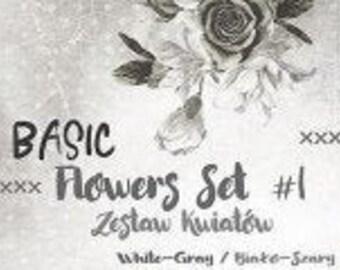 Craft O'Clock Paper - Basic Flowers Set #1 - White-Gray