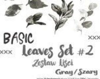Craft O'Clock Paper - Basic Leaves Set #2 - Gray