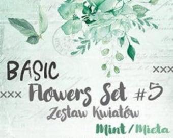 Craft O'Clock Paper - Basic Flowers Set #5 - Mint