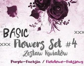 Craft O'Clock Paper - Basic Flowers Set #4 - Purple-Fuchsia