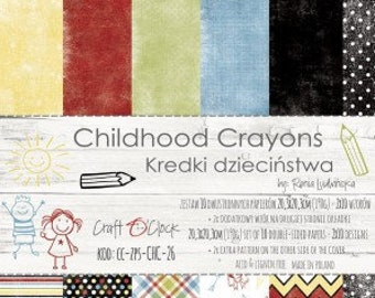 Craft O'Clock Paper - Childhood Crayons Paper Collection
