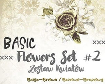 Craft O'Clock Paper - Basic Flowers Set #2 - Beige-Brown