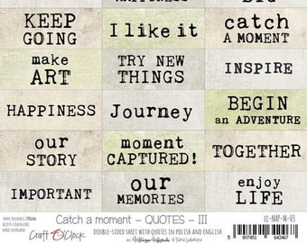 Craft O'Clock Paper - Catch A Moment Quotes III