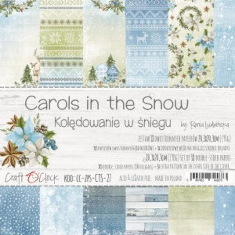"Craft O'Clock Paper  Carols in the Snow Paper Collection 8"" x 8"" Paper Pack"