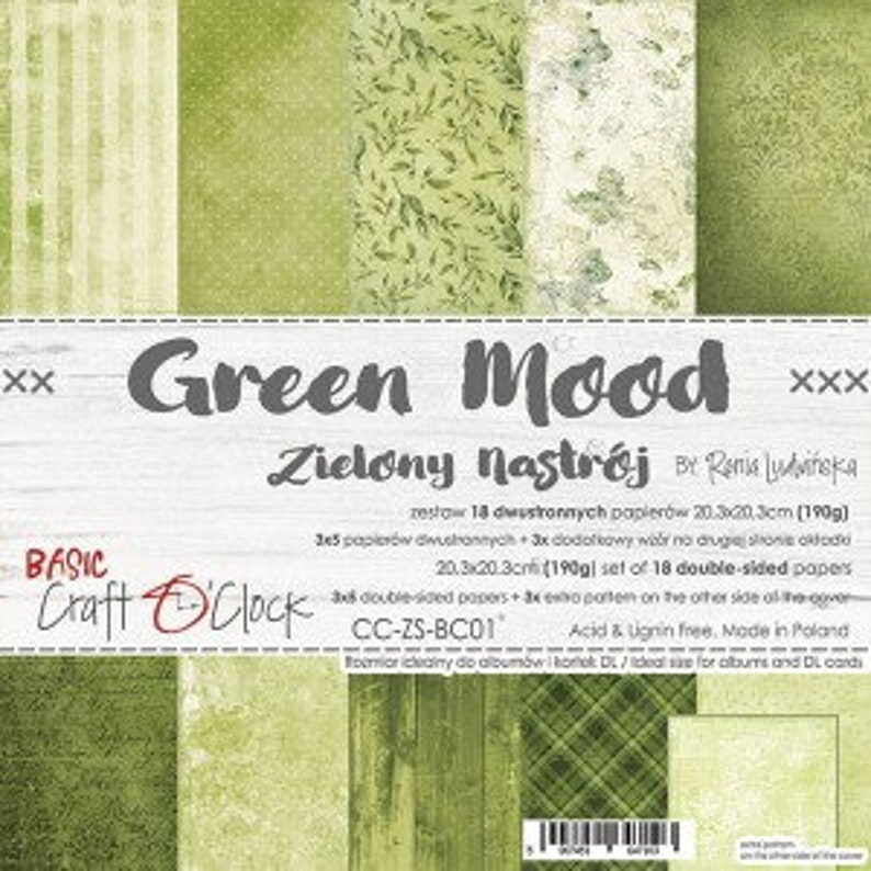 Craft O'Clock Paper  Green Mood Paper Collection image 0