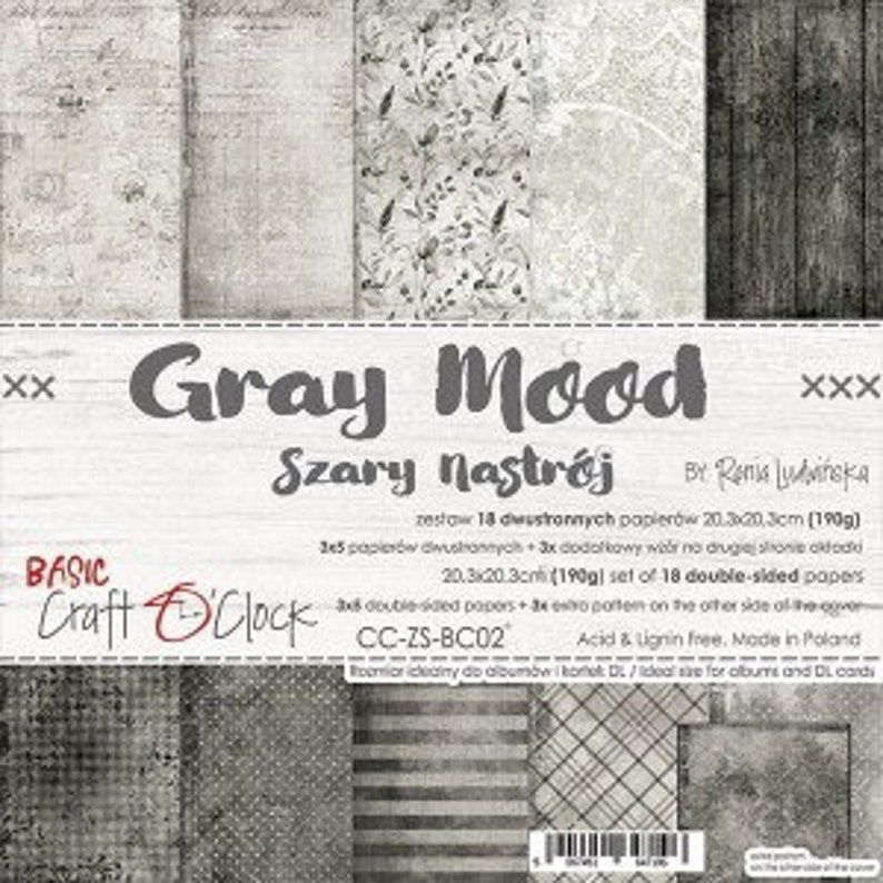 Craft O'Clock Paper  Gray Mood Paper Collection image 0