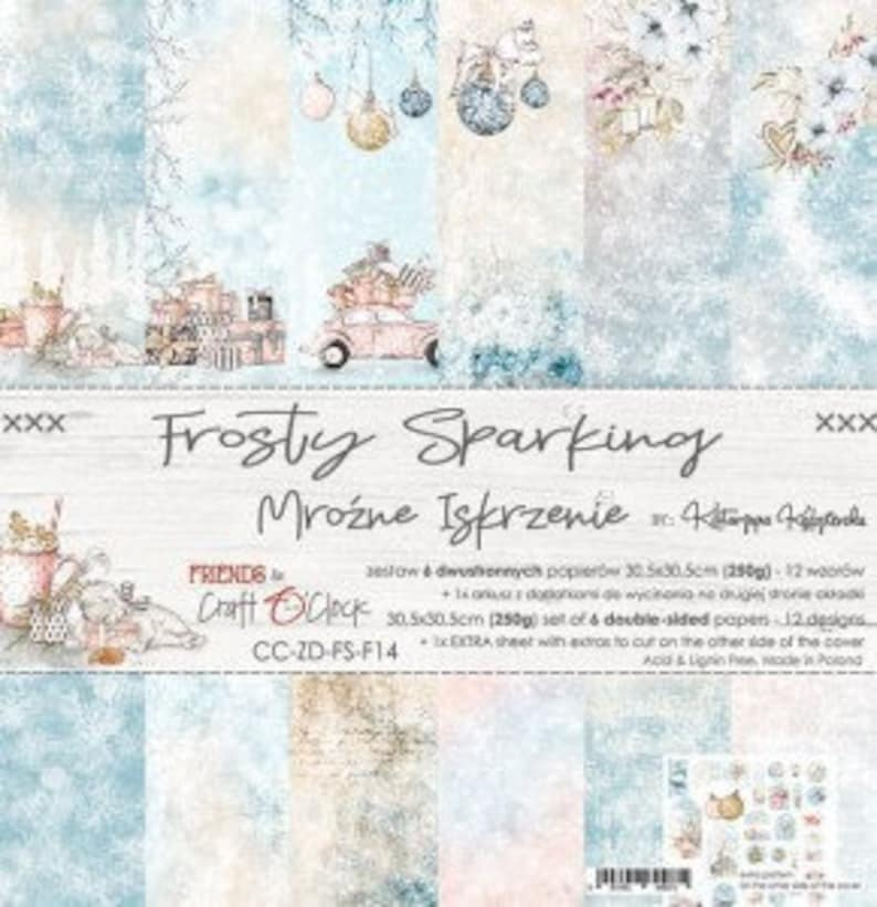 "Craft O'Clock Paper  Frosty Sparking Paper Collection 12"" x 12"" Paper Pack"