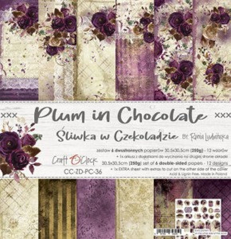 """Craft O'Clock Paper  Plum in Chocolate Paper Collection 6"""" x 6"""" Paper Pack"""