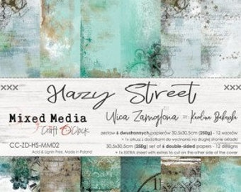 Craft O'Clock Paper - Hazy Street Mixed Media Paper Collection