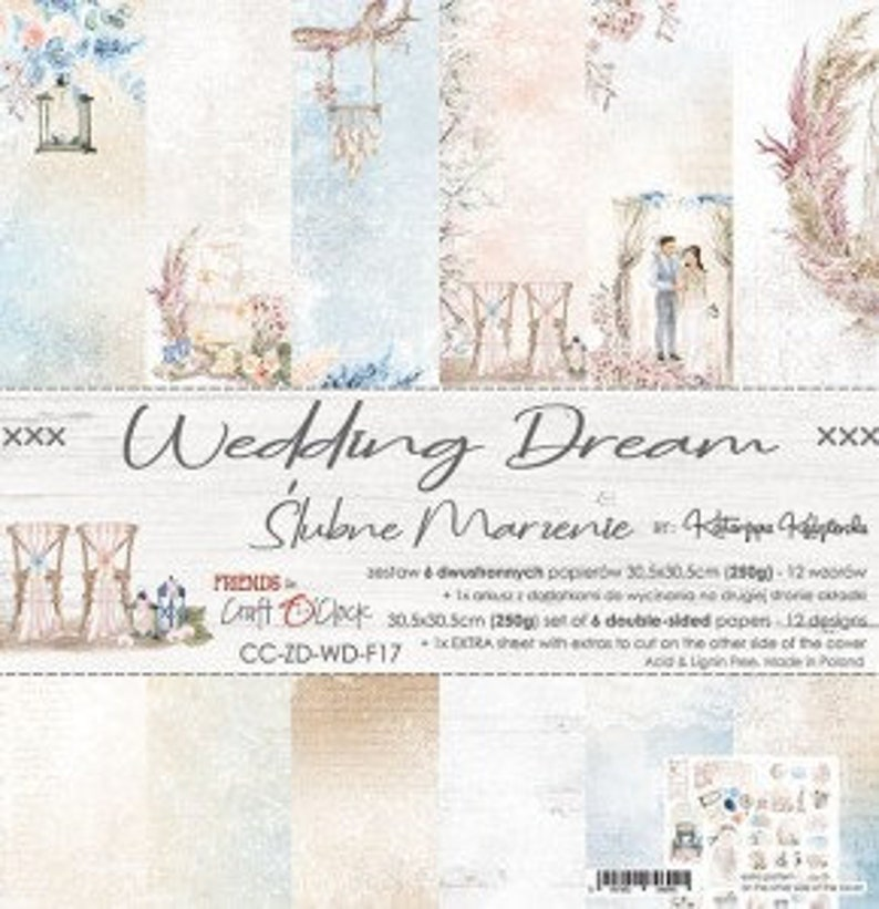 "Craft O'Clock Paper  Wedding Dream Paper Collection 6"" x 6"" Paper Pack"