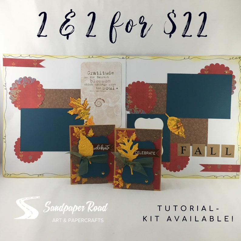 TUTORIAL  FALL  2 cards & 2 scrapbook layouts kit image 0