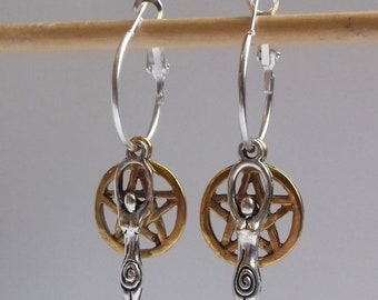 4 in 1 Cluster Pentagram Earrings , Pentacle Earrings , Pentagram Hoops , Silver Hoops , Wicca , Hoop Earrings , Silver and Gold , New Age