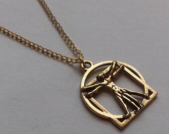 Handmade jewelry etsy gold vitruvian man necklace gold necklace artist necklace art necklace handmade jewellery handmade jewelry new age boho gift aloadofball Images